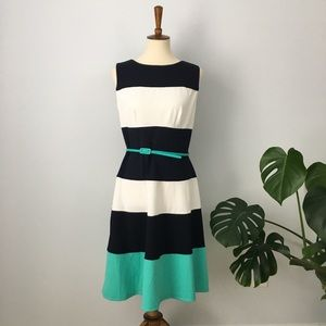 Striped Summer Dress Swing Skirt Aqua NEW